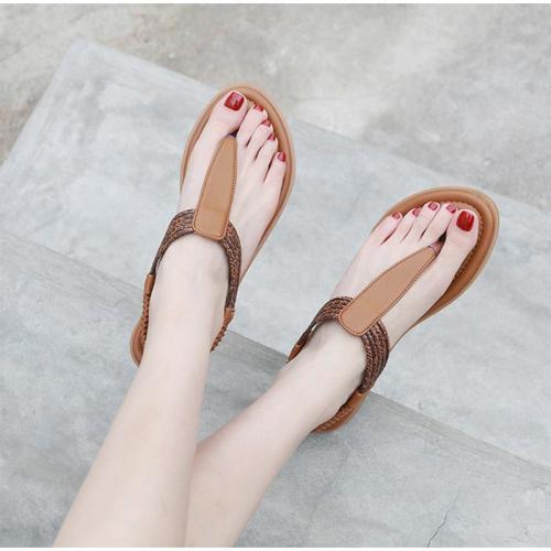 Vintage Sandals Flip Flops T Strap Woman Flats Beach Shoes