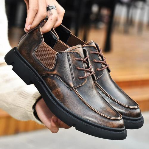 Men Vintage Lace Up Brogue Shoes Retro Business Flats