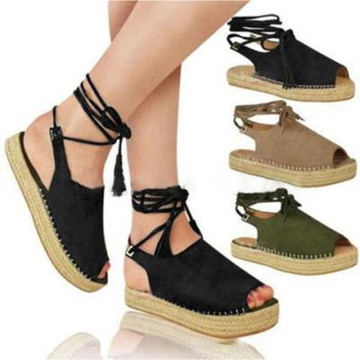 Women Creeper Sandals Casual Espadrilles Lace Up Shoes