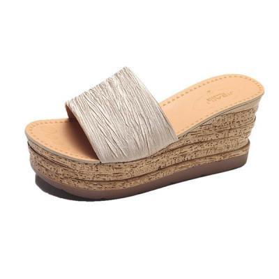 Women Summer Wedge Platform Slip-on Slippers