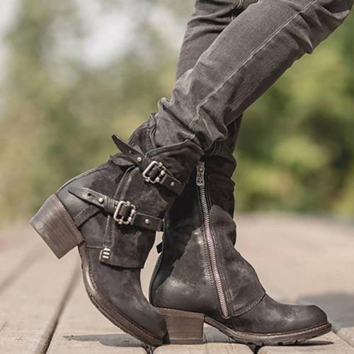 Chunky Heel Zipper Women Boots
