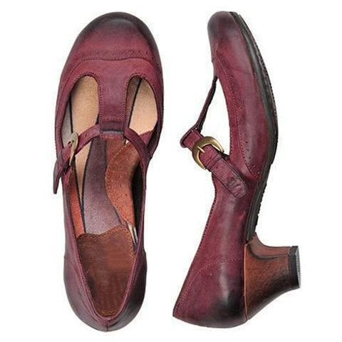 Womens Vintage Chunky Heel T-Strap Sandals
