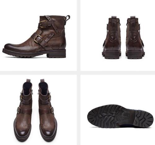 Men Vintage Genuine Leather Buckle Cowboy Ankle Boots