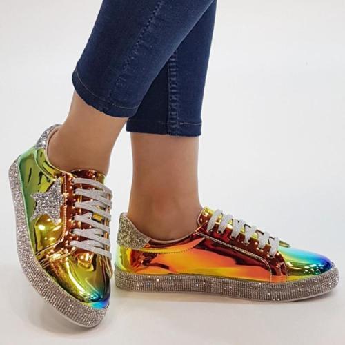 Shiny Rhinestone Casual Sneakers