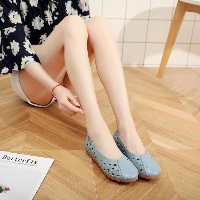 Plus Size Hollow-out Cowhide leather Slip-On Women Flats