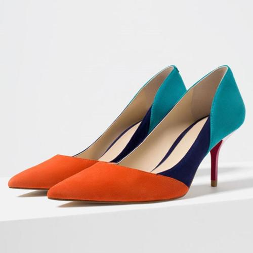 Pointed Toe Panel Color Block Date Heels