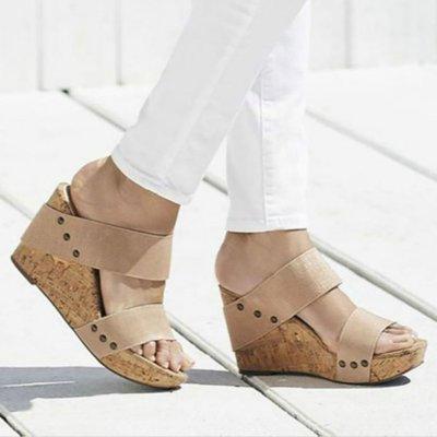 Women's PU Peep Toe High Wedge Heel Slippers