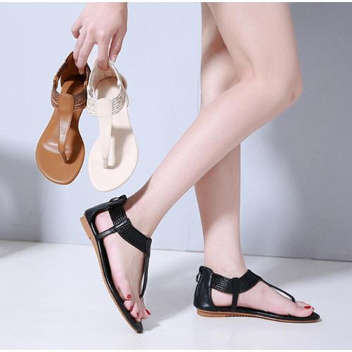 Vintage Sandals Flip Flops T Strap Woman Flats Beach Shoes