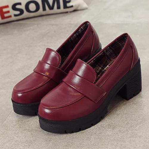 PU Chunky Heel Casual Loafers
