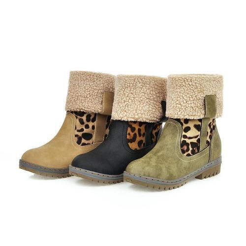 Plus Plush Lining Leopard Print Splice Round Toe Winter Boots