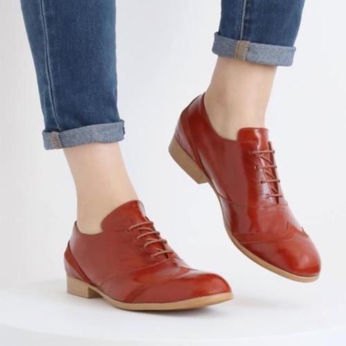 Orange Pu Lace-Up Exford Shoes