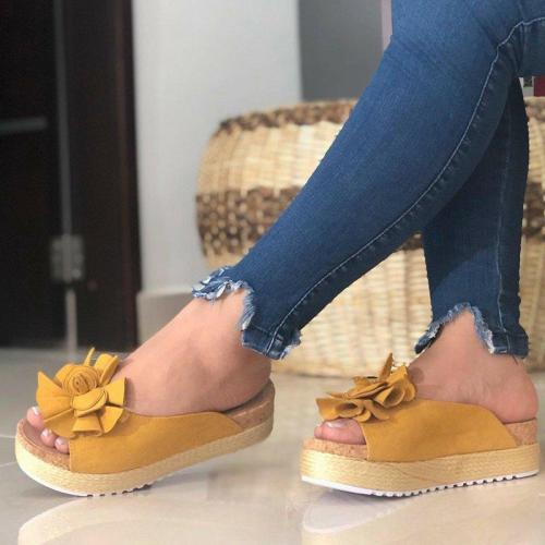 Flower Sandals Slip-On Peep Toe Women Platforms