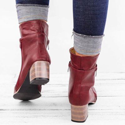 Women Vintage Ankle Boots Low Heel Zipper Motorcycle Shoes