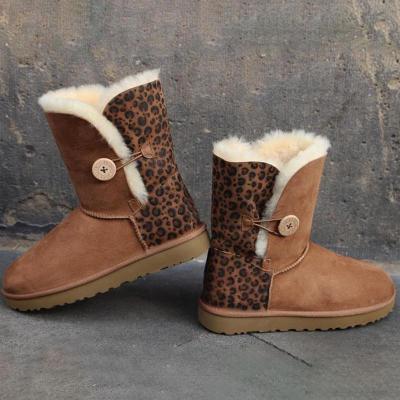 Brown Leopard Print Buttoned Plus Velour Mid-Calf Boots