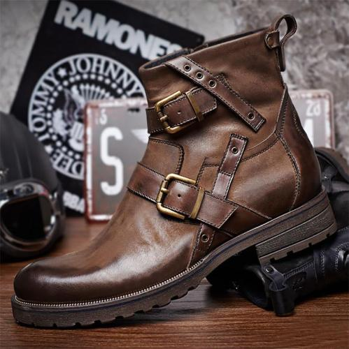 Men Vintage Genuine Leather Buckle Cowboy Ankle Men Boots