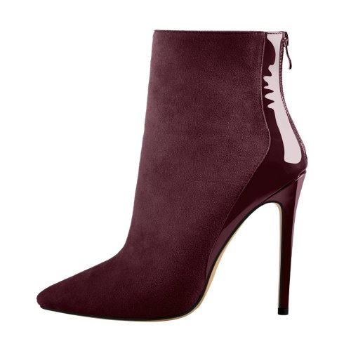 Mediumvioletred Suede Patent Leather Stitching Pointed Toe Ankle Boots