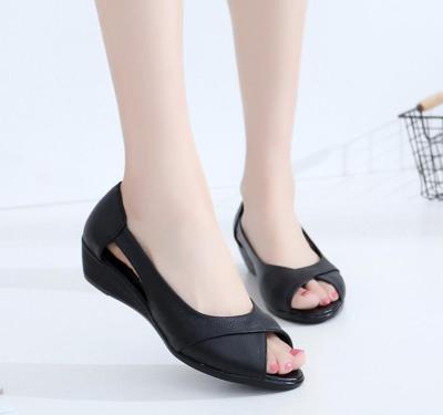 Women Sandals Genuine Leather Wedge Open Toe Sandals women
