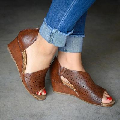 Hollow Slip On Wedge Heels Sandals