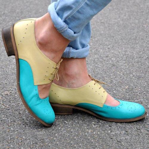 Womens Color Block Leather Cutout Oxfords Loafers Shoes