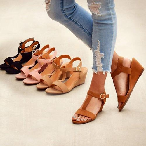 Classic Peep Toe T-Bar Wedges Buckle Sandals
