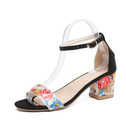 Summer New Women's Shoes Round Head Chunky Heel with Buckle Fashion Sandals