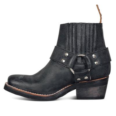 Plain  Chunky  Mid Heeled  Round Toe  Date Outdoor  Short High Heels Boots