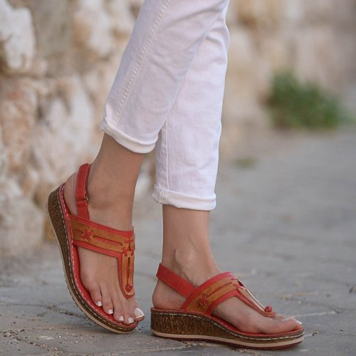 Flip-Flop Toe Hook&Loop Low Wedges Heels Sandals