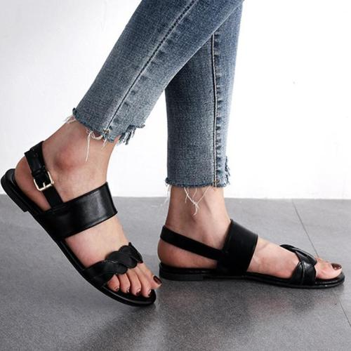 Twist Band Flat Heels Peep Toe Adjustable Buckle Women Sandals