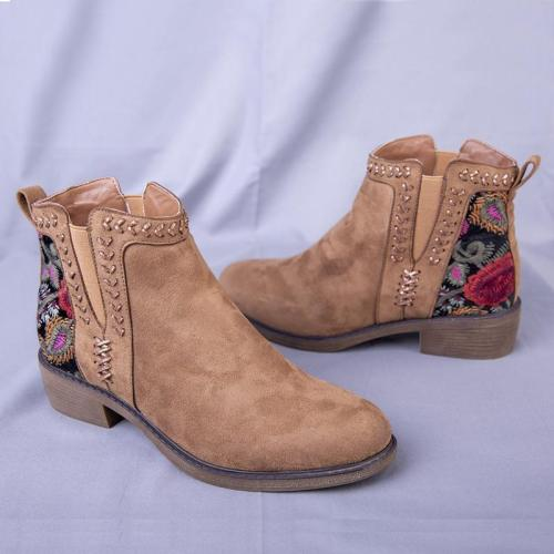 Camel Chunky Heel Embroidery Faux Suede Winter Boots