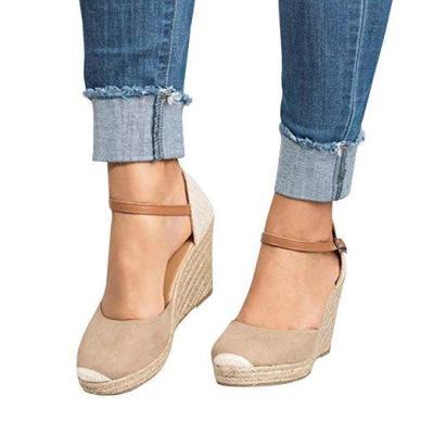 Plus Size Wedges Ankle Strap Espadrilles Wedges Sandals