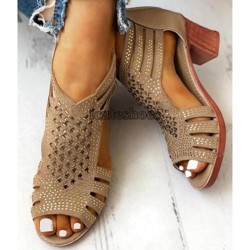 Summer Women Sandals High Heels hollow open Toe Gladiator zipper Ladies Shoes Party Pumps Platform