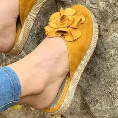 Women Casual Summer Flower Platform Slippers
