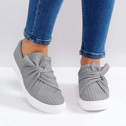 Large Size Women Knitted Twist Pink Slip On Sneakers