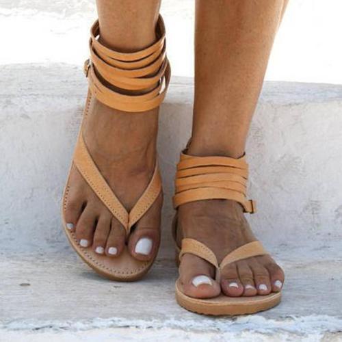 Women's PU Flip-flops Zipper Rome Style Flat Sandals