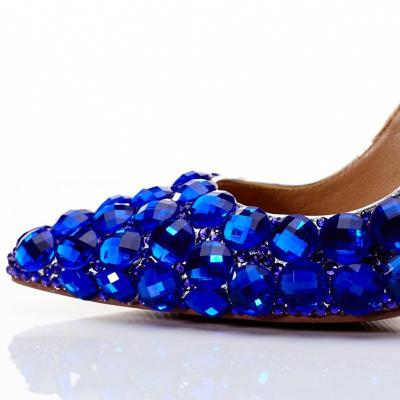 Blue Rhinestone Party & Evening Genuine Leather High Heel Shoes