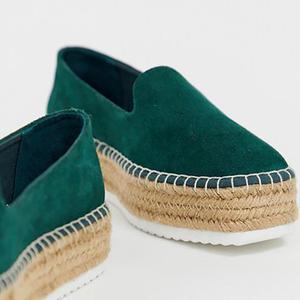 Flocking Upper Straw-Weaved Platform Slip-On Shoes