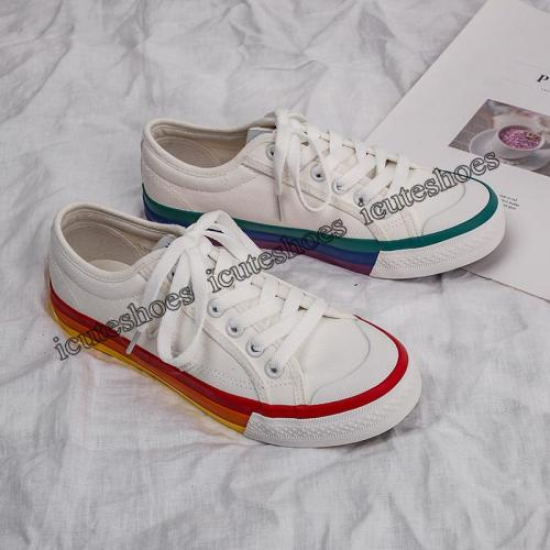 Rainbow Canvas Shoes Female Shoes Feature Stitching Soles White Shoes