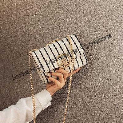 Small Bag Women's Versatile Canvas Chain Bag Fashion Single Shoulder Messenger Bag