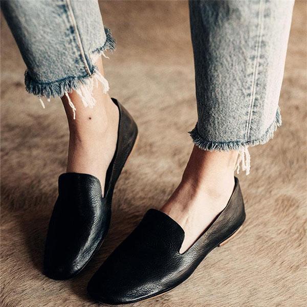 Solid Color Vintage Flat Shoes