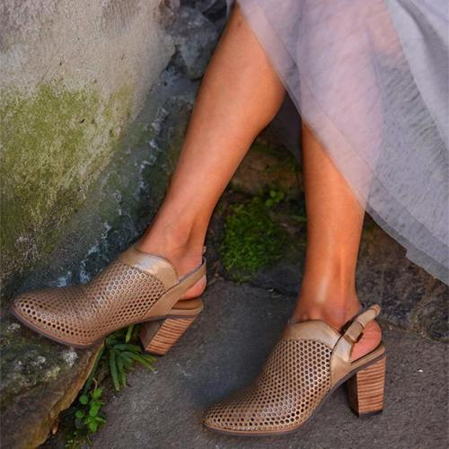 Casual Chunky Heel Buckle Shoes