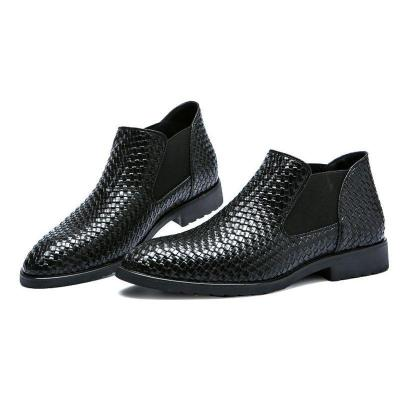 Hand-knitted men's leather Martin boots