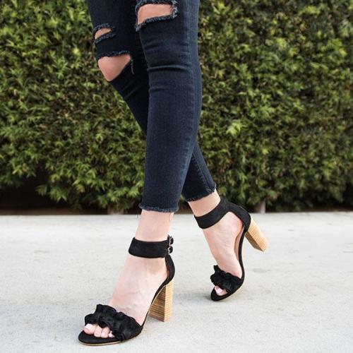 Chic Ruffle High Heel Sandals