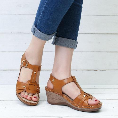 Rome Metal Buckle Breathable Wedge Heel Gladiator Sandals
