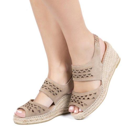 Adjustable Rubber Slingback Hollow Peep Toe Wedges Sandals