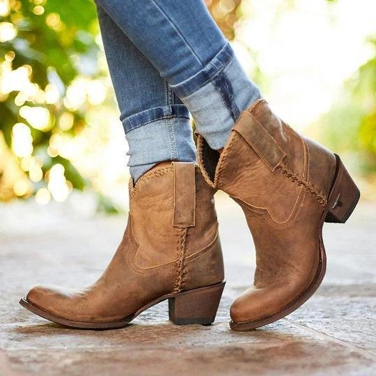 Pointed Toe Slide Pu Chunky Heel Casual Ankle Women Boots