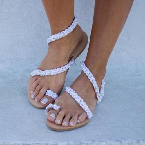 Simple Beading White Women Flip-flop Sandals