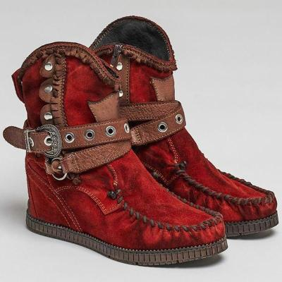 Red Faux Suede Winter Boots