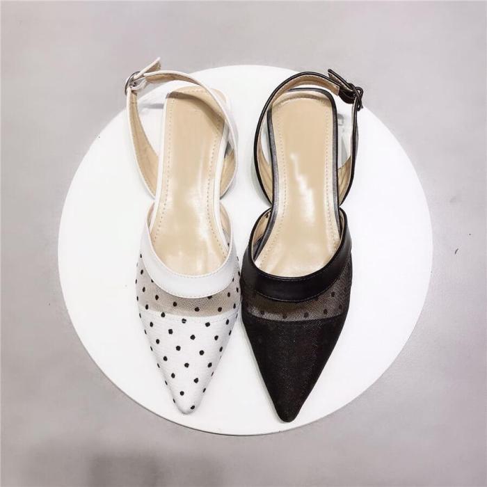 Fashion Buckle   Breathable Mesh Flat Shoes
