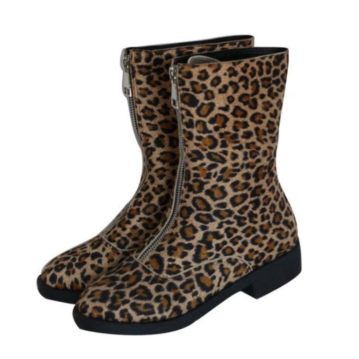 Flocking Center Front Zipper Low Heel Mid-Calf Boots