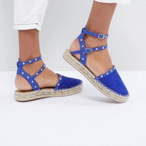 Flocking Upper Round Toe Band Strap Rivet Sandals